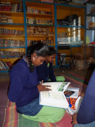 A girl reading in our science library
