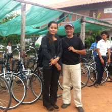 Rachana and Steve with bikes