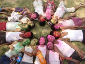 Our boys celebrating Holi festival this year