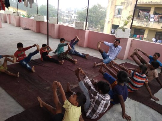 Morning exercise at the Child Helpline