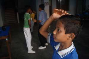 Ramesh getting ready for school