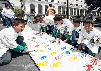 "Giant Canvas in the ""Plaza Grande"", Ecuador"