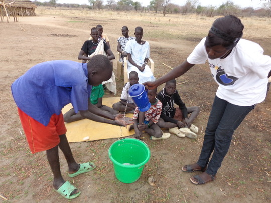Hygiene team teaches handwashing