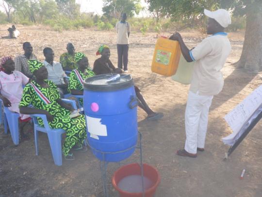 WFSS hygiene team training villagers