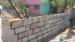 rebuilt compound wall
