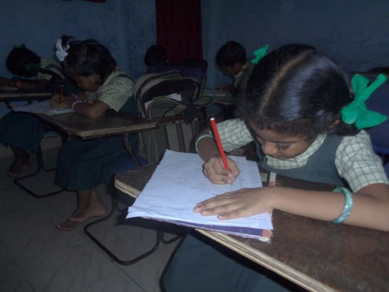 Children writting examination