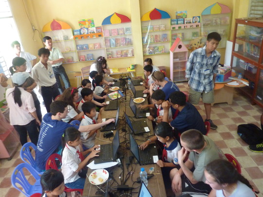 Students Learning How to Use the Computers