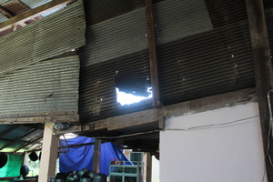 Damage to the kitchen's roof.
