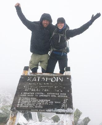 Lauren & Nate at the top of Mount Katahdin
