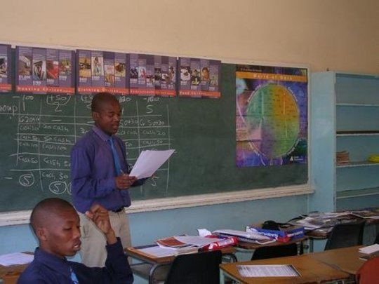 A student presents during an entrepreneurship clas