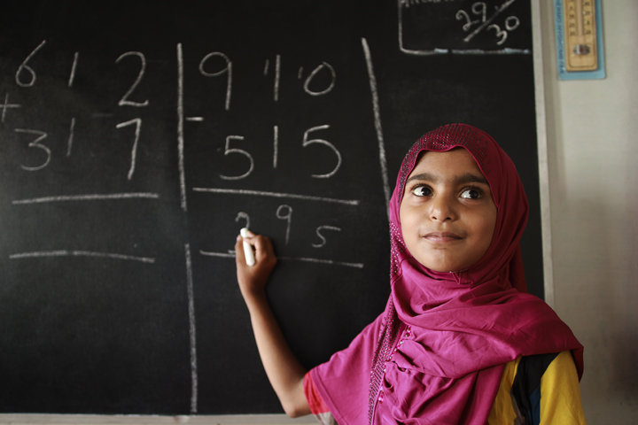 Student in BRAC school in Pakistan.