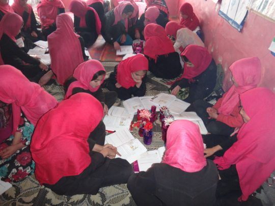 Girls in a BRAC school participate in group work