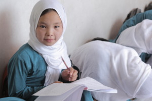 An Afghan student in a BRAC community school.