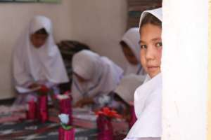 Girls in a community-based school in Afghanistan.