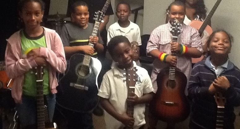 Children in the Guitar Program at Pullum Center