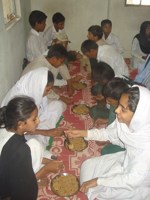 Lunch time at one of the schools