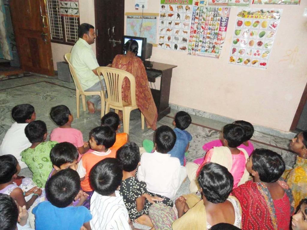 Orphan Children are learning computer skills train