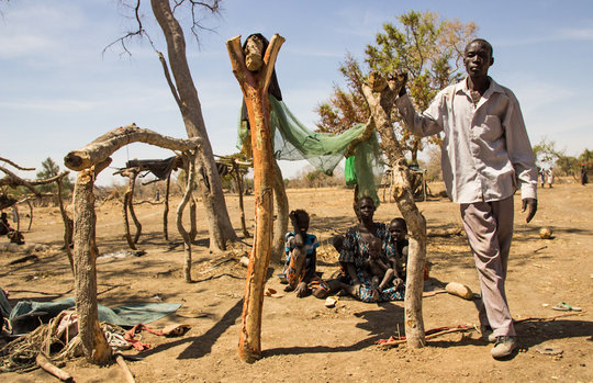 A displaced family in South Sudan.