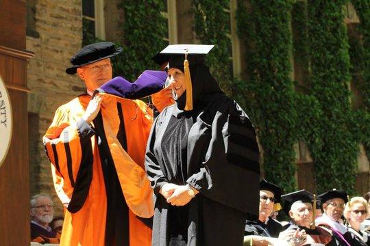 Dr. Sakena Yacoobi receiving her hood at Princeton