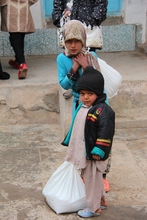 Children with the food they received