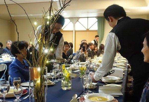 Serving at Graduation Dinner