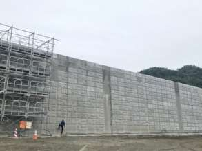 Giant sea wall covering the bay of Ogatsu