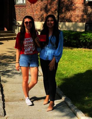 Eliane pictured with SGSNY Scholar Kinza