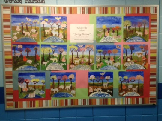 PS163 students' SPRING BLOSSOM artwork on display