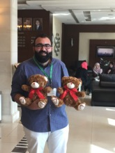 medical student with two of the bears coming in Ma