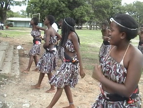 Girls perfoming a dance at the world AIDS day tournament