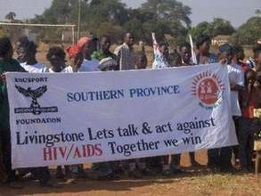 Girls March past during the HIV/AIDS awareness wee