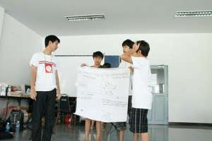 Leaders for Boys Camp presenting their discussions