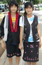 Girls wearing their traditional hilltribe costumes