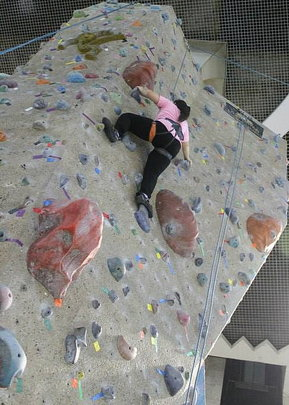 Ice making her climb up
