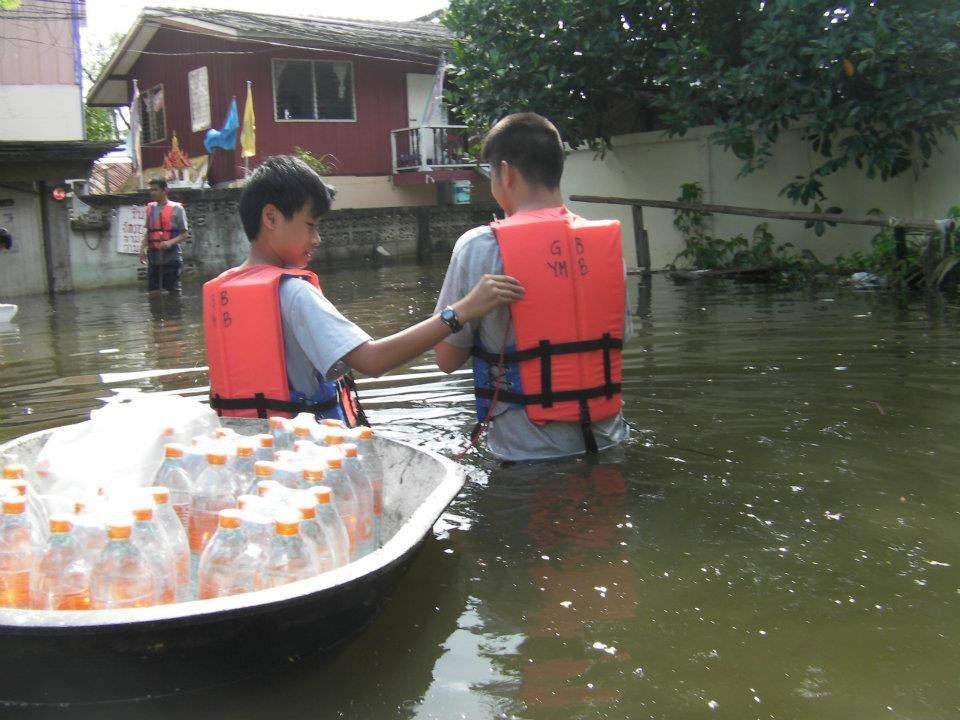 Bottled water is scarce during the flood
