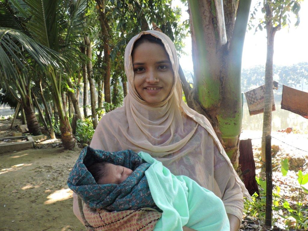 Taslima - a new mom with her baby boy