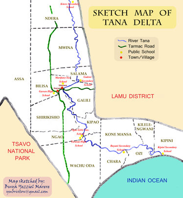 Map of the Tana Delta with location of schools