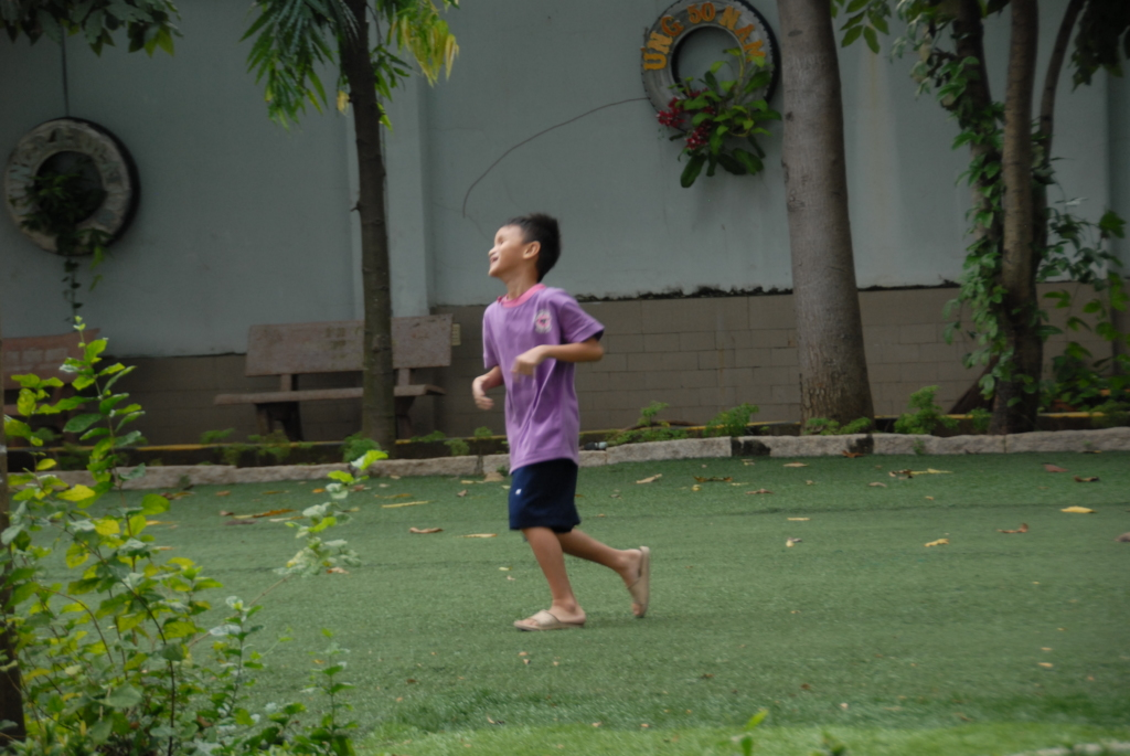 A child is jogging in the school