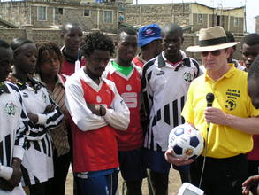 Balls provided by Per Omdal being given to Kenya's Homeless