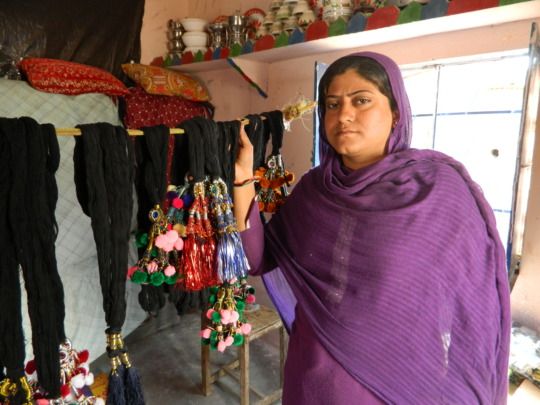Farzana with her creations