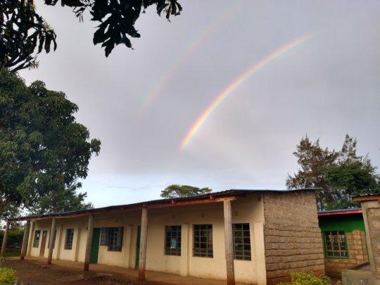 Rainbow over the school