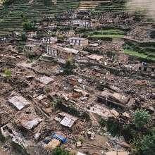 Devastation in Gorkha. Aerial photo by Brian Sokol
