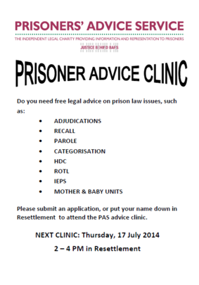 July Women's Advice Clinic Poster at HMP Holloway