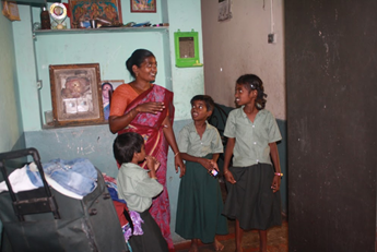 Ashwatha with her mother and sisters