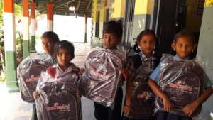 Children with their new bags