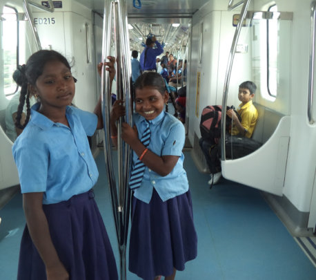 Children enjoying the Metro ride