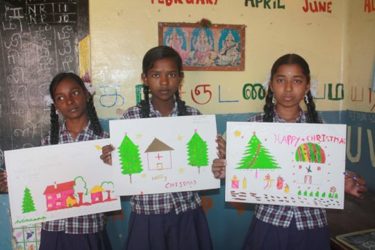 Drawing competition at the christmas celebration