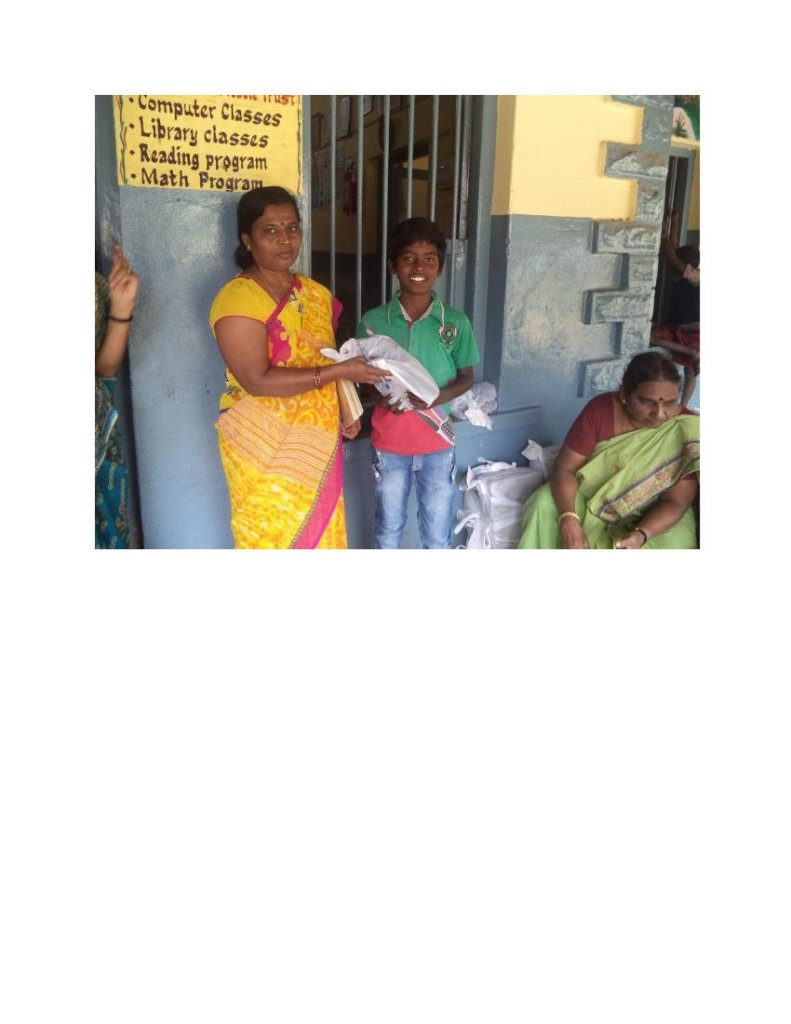 Distribution of shoes to the children