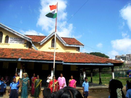 Flag hoisting at school