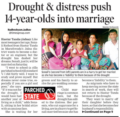 Drought puts 14 year old into marriage